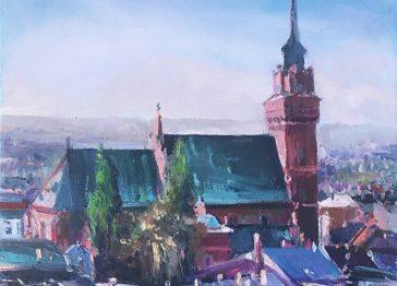 Szafrańska Teresa, Katedra WTarnowie, 25x30, Olej NaPłótnie, 2018